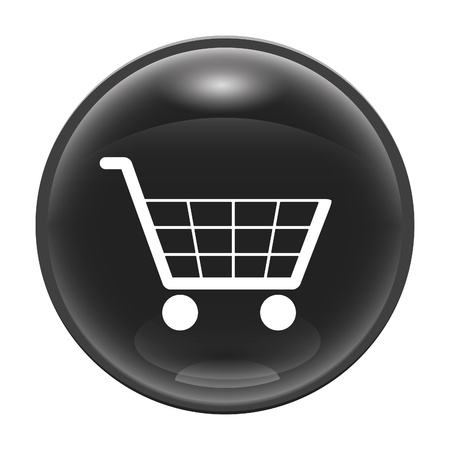 A black glossy web icon with a trolly Stock Photo - 8554682