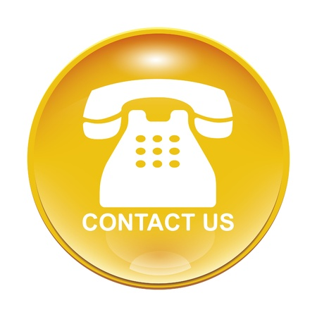 An image of a yellow contact us icon Stock Photo - 8554688