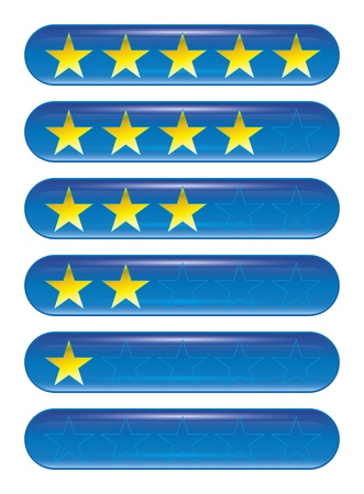evaluating: Un conjunto de cinco estrellas iconos de rangos