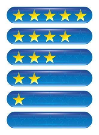 classement: Un ensemble de cinq �toiles ic�nes de rang Banque d'images