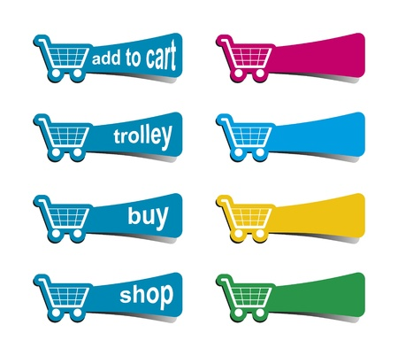 An image of some shopping icons in different colors photo