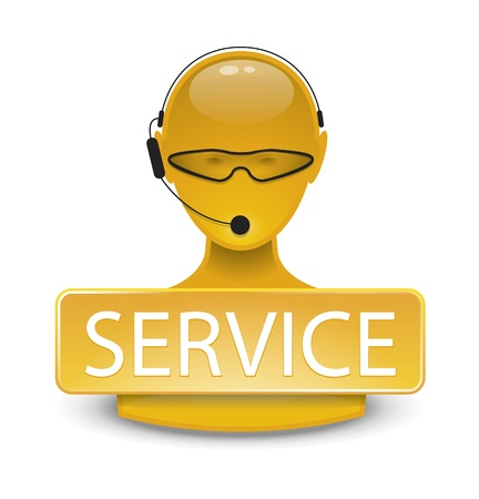 customer support team: An image of a yellow service web icon