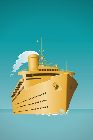 wave tourist: An old style cruise ship illustration