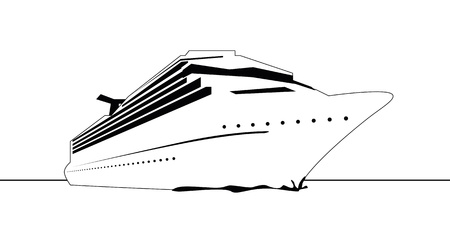 luxury travel: a black and white graphic cruise ship