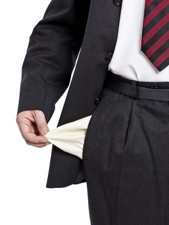 Een zaken man die geen geld heeft Stockfoto