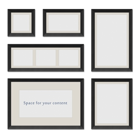 Different shaped black frames for your content photo
