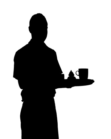 caterer: An image of a waiter in black and white