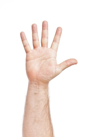 male parts: An image of five fingers up high