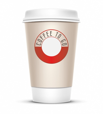 A coffee cup vector illustration with the words coffee to go illustration