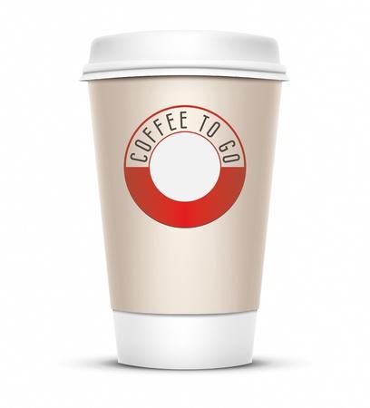 caf� � emporter: Une illustration de vecteur de coupe caf� avec le caf� de mots pour aller Banque d'images