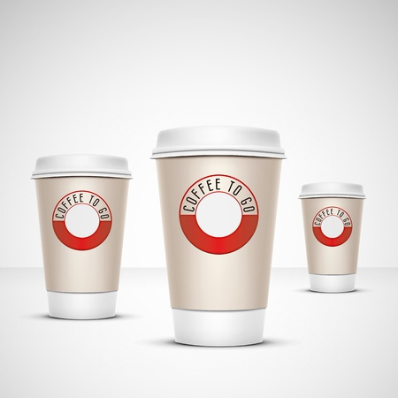 take away: A coffee cup vector illustration with the words coffee to go