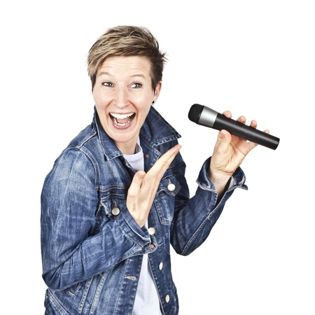 An image of a beautiful smiling women with a microphone photo