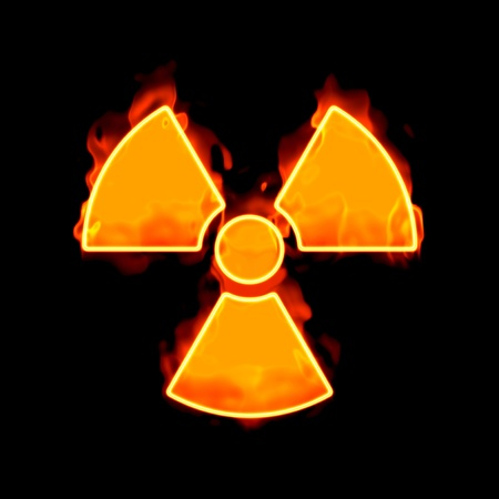 An image of a radioactive sign on fire photo