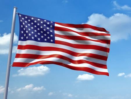 naciones unidas: Una imagen de la bandera de Estados Unidos de Am�rica en el cielo azul Foto de archivo