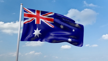 canberra: An image of the Australian flag in the blue sky