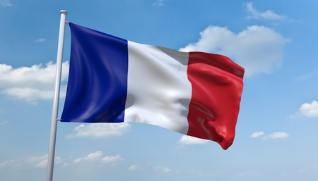 francais: An image of the France flag in the blue sky Stock Photo