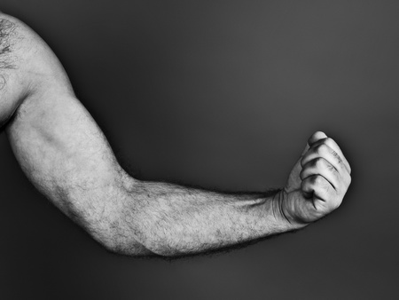 An image of a black and white fist photo