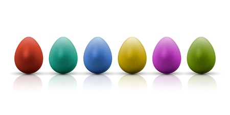 A row of nice colored easter eggs photo