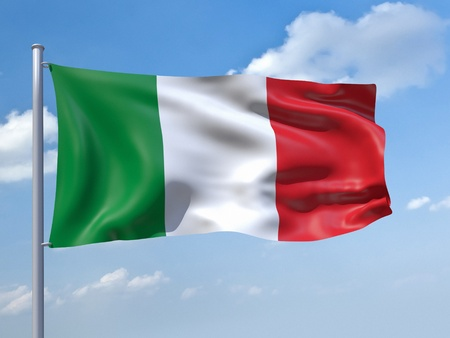 flag pole: An image of the italy flag in the blue sky