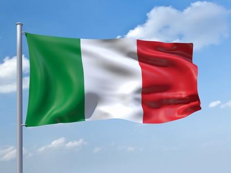 the italian flag: Una imagen de la bandera de Italia en el cielo azul