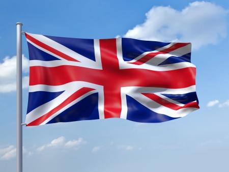 bandera de reino unido: Una imagen de la bandera del Reino Unido en el cielo azul