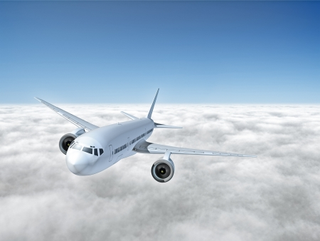 An image of an airplane above the clouds photo