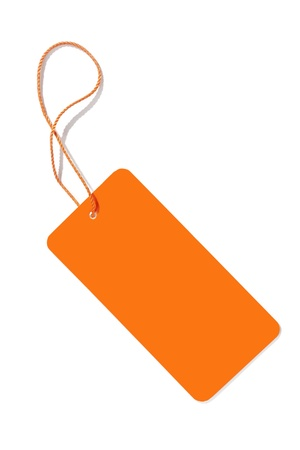 luggage pieces: An image of an orange label isolated on white