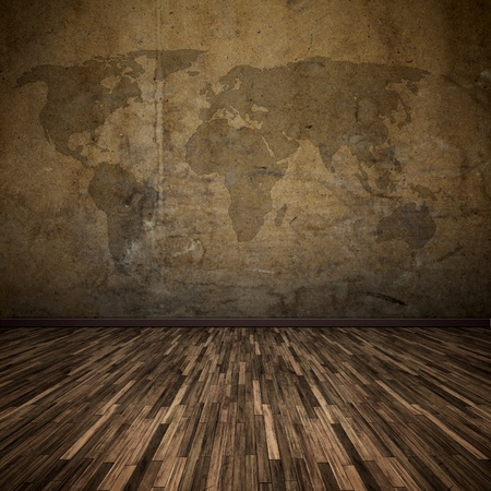 hardwood: An image of a nice floor with a world map