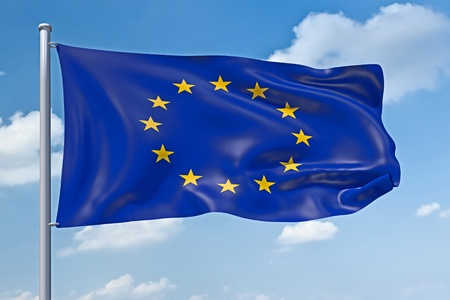 governmental: An image of the europe union flag in the blue sky Stock Photo