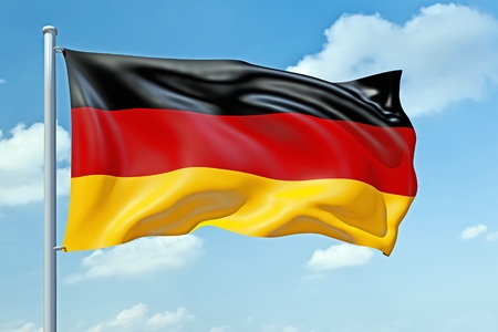 An image of a German flag in the blue sky photo