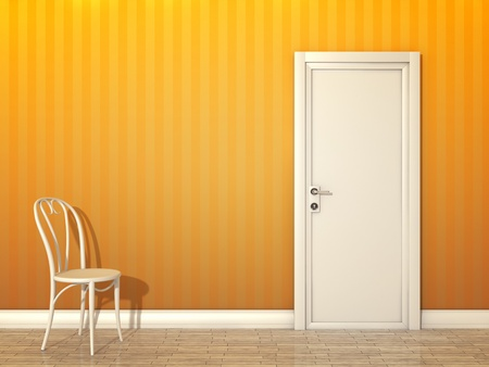 An image of a orange room with white door and chair photo