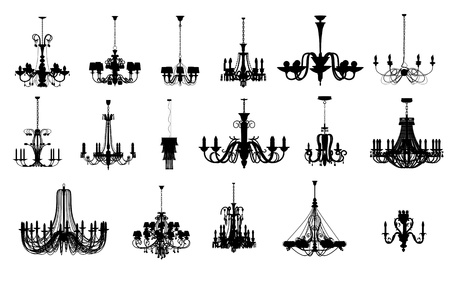 chandelier isolated: An image of 17 different shapes of chandelier
