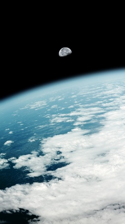 An image of a earth view and the moon photo