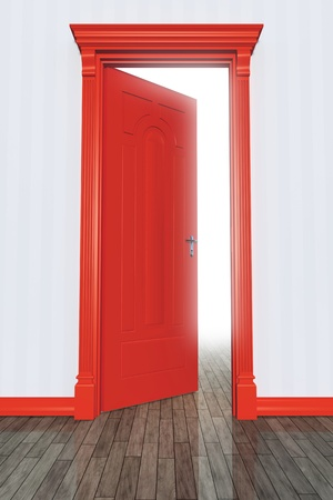 entrance door: An image of an open red door