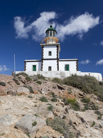 An image of the beautiful Santorini lighthouse photo