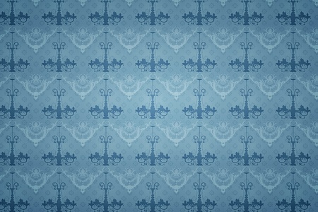 A bright blue baroque wallpaper background photo