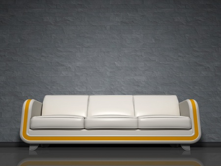 An image of a nice white sofa with yellow line Stock Photo - 9682273