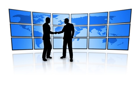 business men in front of a television wall with a blue world map Imagens