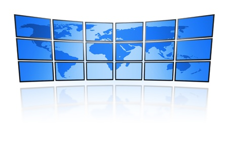 televison: A television wall with a blue world map Stock Photo
