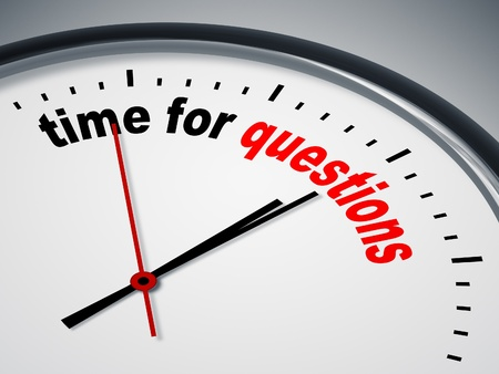 An image of a nice clock with time for questions photo