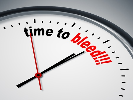 bleed: An image of a nice clock with time to bleed Stock Photo