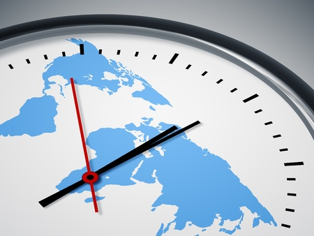 An image of a nice clock with world map photo
