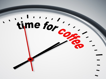 coffee time: An image of a nice clock with time for coffee