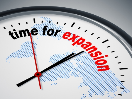 change business: An image of a nice clock with time for expansion Stock Photo