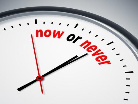 nunca: Una imagen de un bonito reloj con ahora o nunca Foto de archivo