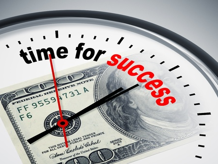 increases: An image of a nice clock with time for success Stock Photo