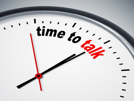 up time: An image of a nice clock with time to talk Stock Photo