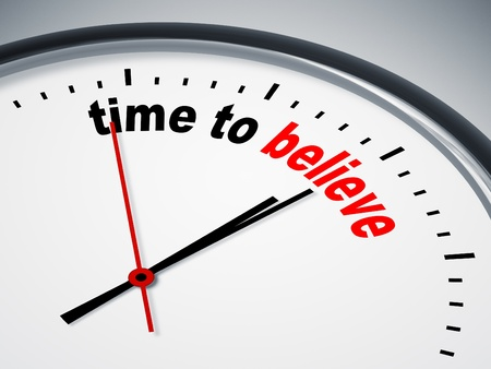 believe: An image of a nice clock with time to believe Stock Photo