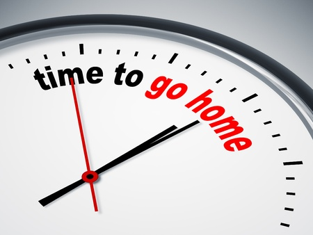 up time: An image of a nice clock with time to go home Stock Photo