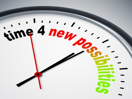 possibilities: An image of a nice clock with time 4 new possibilities Stock Photo